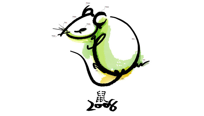 鼠年新年贺卡手绘